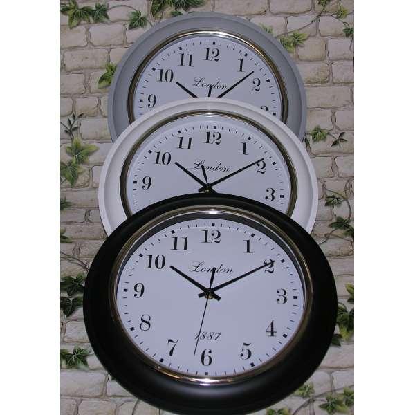 Wanduhr London 32cm Bahnhofsuhr Büro-Uhr Retro-Design Uhr Küchenuhr Nostalgie