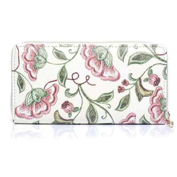 Damen Geldbörse Blumen-Muster Beige Portemonaie Geldbeutel Langbörse Brieftasche