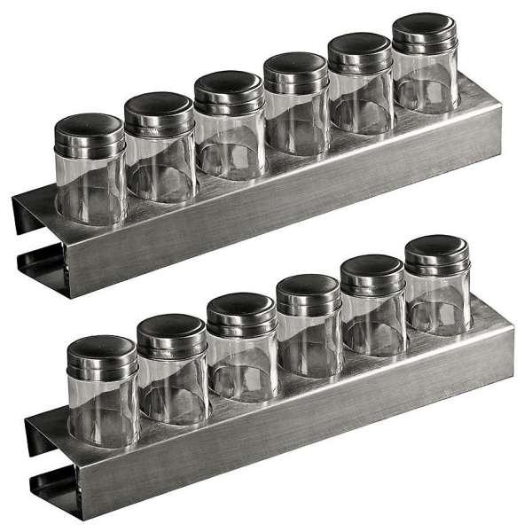 2x Kesper 90126 Gewürzregal mit je 6 leeren Gläsern 35x6x5cm Metall Gewürzstreuer