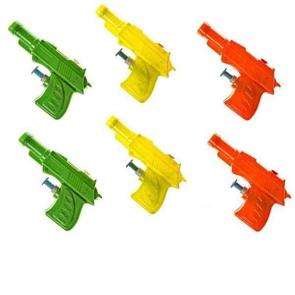 6x Wasserpistole 9,5cm Spritzpistole Wasserspritze Kinder Mitgebsel Tombola Party