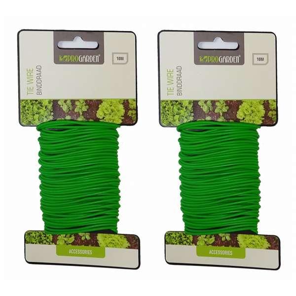PROGARDEN Bindedraht Pflanzendraht Gartendraht Pflanzenhalter Draht grün 20m
