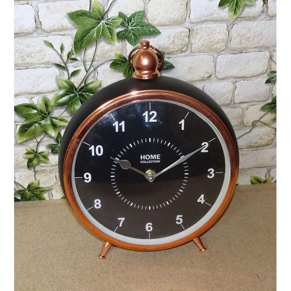 Deko Wecker Home Vintage Retro Uhr Standuhr Metall kupfer schwarz Quartz Uhrwerk