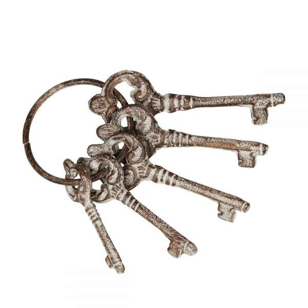 Schlüsselbund 5 Schlüssel aus Eisen Gusseisen Antik Optik Deko Nostalgie Landhaus
