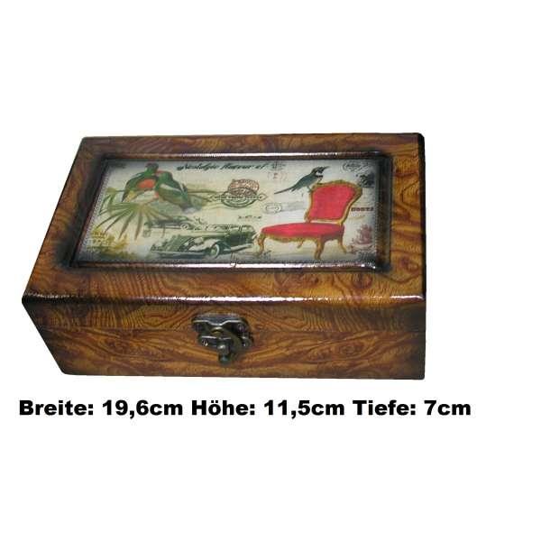 Nostalgische Schmuckschatulle Holz Schmuckkasten Schatulle Vögel Oldtimer 19,6cm