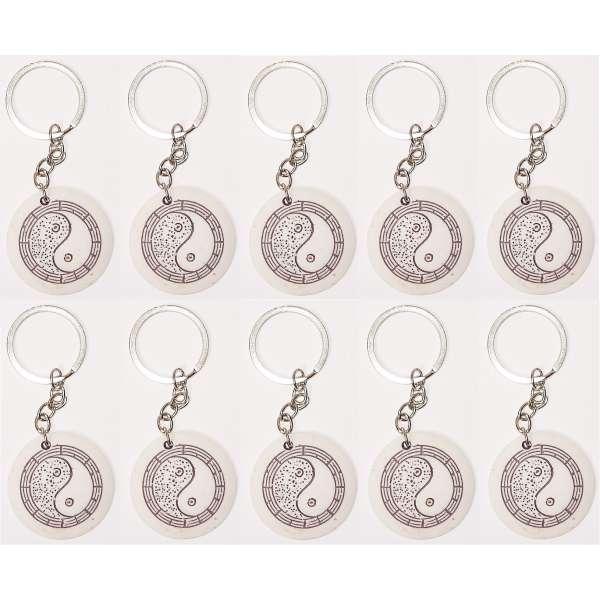 10x Yin Yang Schlüsselanhänger Schlüssel Anhänger Polystone Fengshui rund weiss
