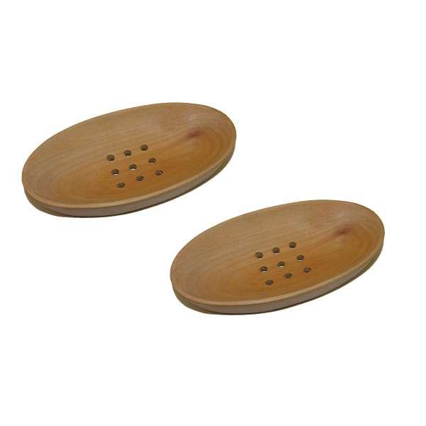 2x Klassische ovale Seifenschale Seifen-Ablage Mahagoni Holz Handarbeit