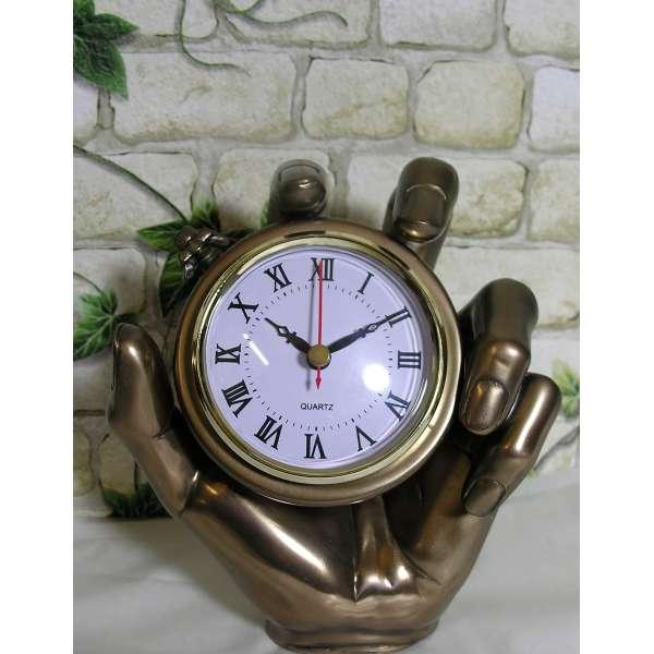 Bronze-farbene Kaminuhr Hand 18cm Stoppuhr Taschenuhr Uhr Tischuhr Oliver Tupton