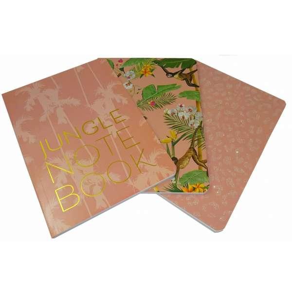 3er Set Notizbuch Notebook Tagebuch Diary Dschungel liniert je 80 Blatt DIN A5 Pink