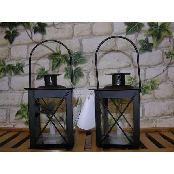 2x Led Laternen schwarz 11cm Asia Weihnachten Leuchte Licht Lampe Kerze Batterie