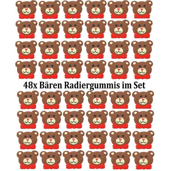 48er Set Bär Teddy Radiergummi Radierer Mitgebsel Kindergeburtstag Party Tombola