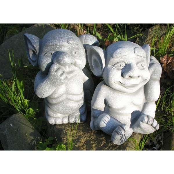2 Trolle im Set Garten Wichtel Gnom Fantasy Figur Skulptur Polystone Deko Zwerg