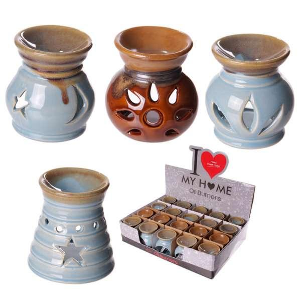 Kleine Keramik Duftlampe blau braun 8cm Aromalampe Duftöl Lampe Teelicht