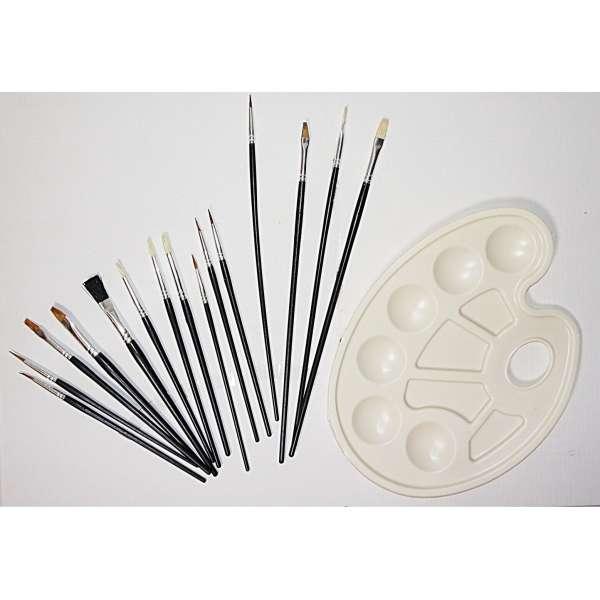 16tlg Pinselset Rund Flach Pinsel Farbpalette Künstler Modellbau Malset Malen