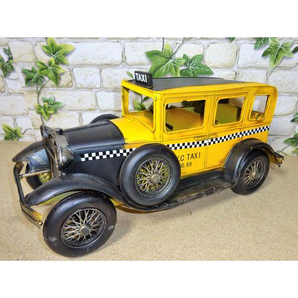 Modell Auto Oldtimer New York City Taxi 32cm aus Blech NYC Yellow Cab Metall Retro Stil