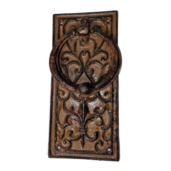 Rustikaler Türklopfer aus Metall Antik-Stil mit floralem Muster heraldische Lilie