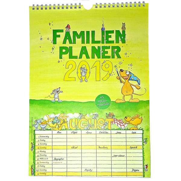 Familienkalender Kalender 2019 mit Ferien 6 Spalten Eltern Kinder Familienplaner