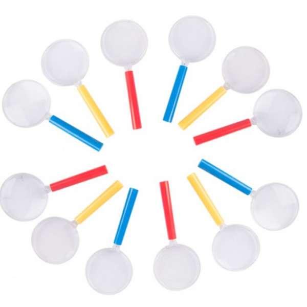 12er Set Lupe 3-fach Vergrößerungsglas 10,5x4,4cm Mitgebsel Kinder Tombola