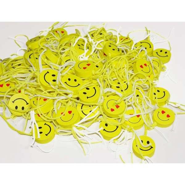 100x Emoji Streuteile Holz Tisch Streu Deko Smiley Anhänger Mitgebsel Geburtstag