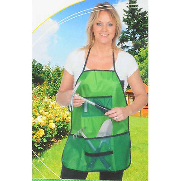 Garten-Schürze 4 Taschen abwaschbar grün Pflanzarbeiten Gärtnerschürze