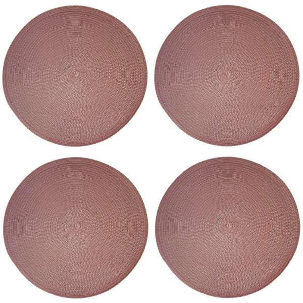 4x Platzset rund rosa 38cm Unterlage Untersetzer Tischset Kunststoff Platz Decke