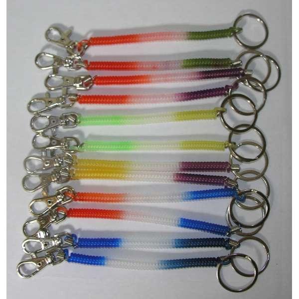 12x Schlüsselkette Schluesselanhänger Spirale Anhänger 17cm bunt Karabiner Ring