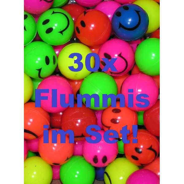 30x bunte Flummis Smiley Gummiball Hüpfball Springball Flummi Tombola Mitgebsel