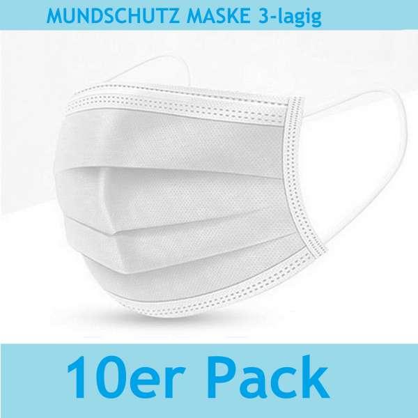 10er Pack Mund-Nasen-Bedeckung MNB Atem Mundschutz Maske Gesichtsmaske 3 Lagig Behelfsmaske weiß