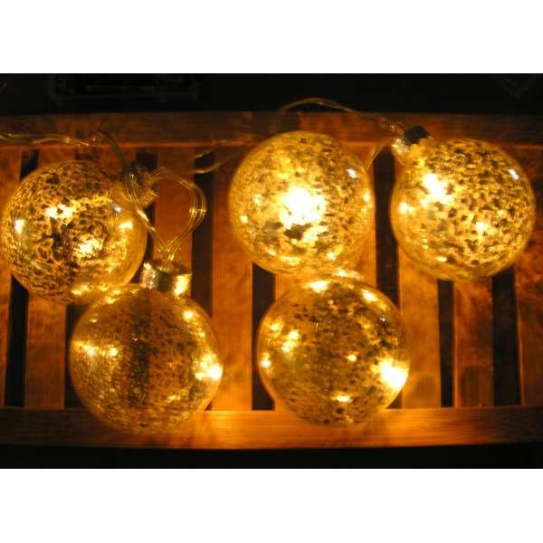LED Lichterkette 5 Weihnachtskugeln warmweiß gold silber innen Batterie