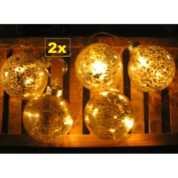 2x LED Lichterkette 5 Weihnachtskugeln warmweiß gold silber Batterie innen