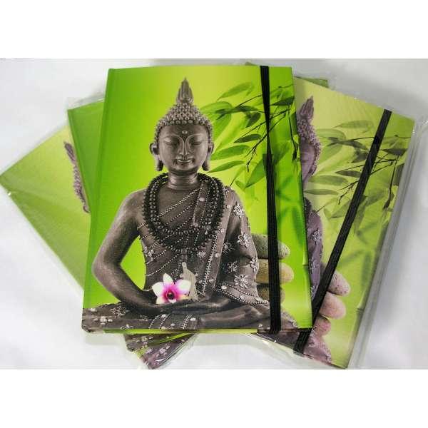 5x Notizbuch Buddha kleiner A5 Tagebuch Diary Feng Shui grün liniert Gummiband