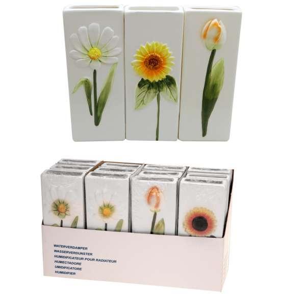 3x Wasserverdunster Luftbefeuchter Keramik Blumen eckig Wasser Verdunster Heizung