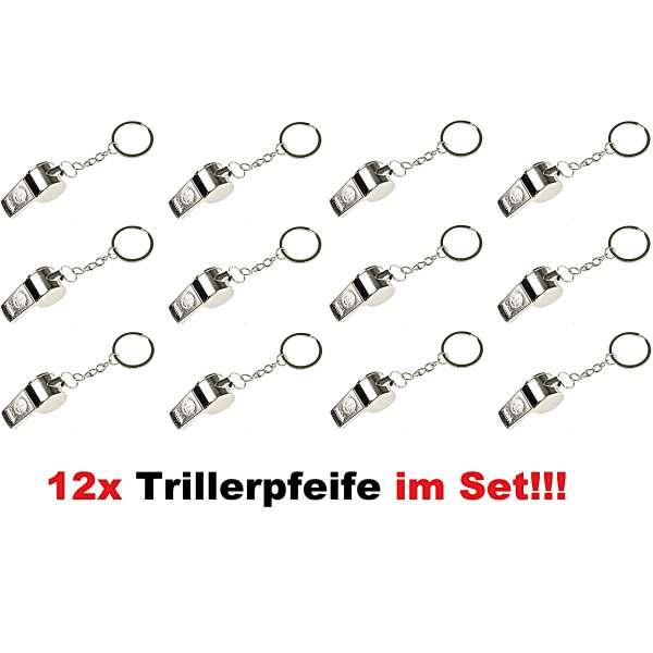 12x Trillerpfeife Schlüsselanhänger Signalpfeife Fussball Mitgebsel Metall silber
