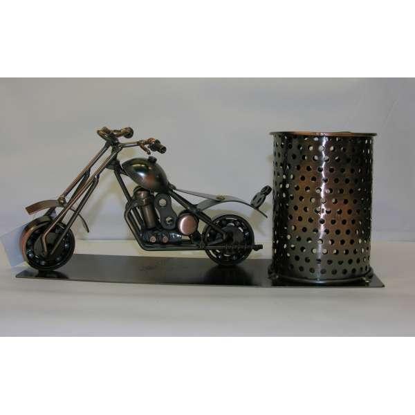 Stiftehalter Motorrad Metall Steampunk Schreibtisch Büro Geschenk-Idee Biker