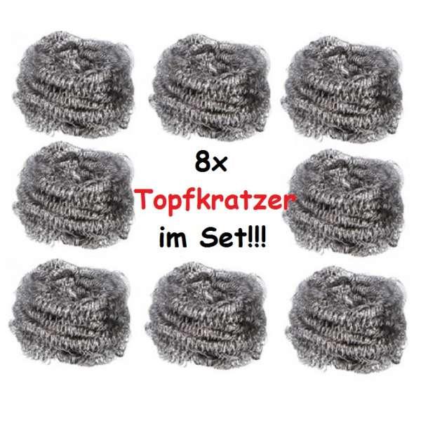 8x Topfkratzer Topfreiniger Stahlschwamm Reiniger Edelstahl Scheuerschwamm Schwamm