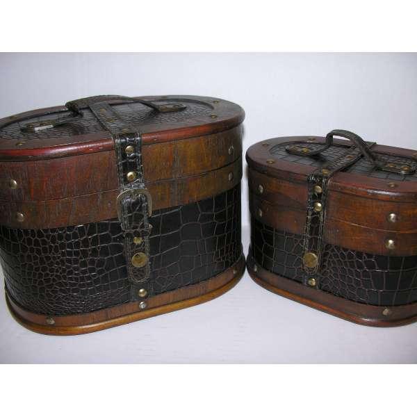 Nostalgisches ovales Hutkoffer-Set 28/23cmHolz Leder Hutschachtel Truhe Antik-Stil Box