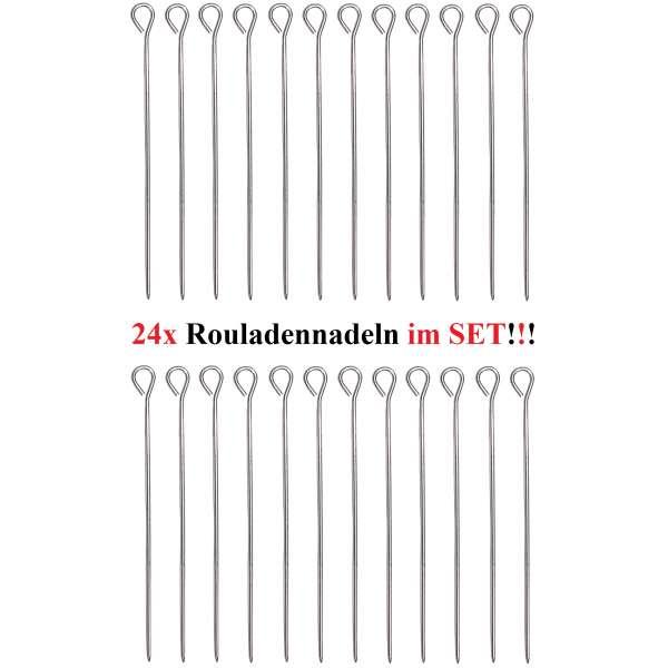 24 Stück Rouladennadeln Rouladenhalter Rouladen Spieß Nadel Edelstahl 9,8 cm
