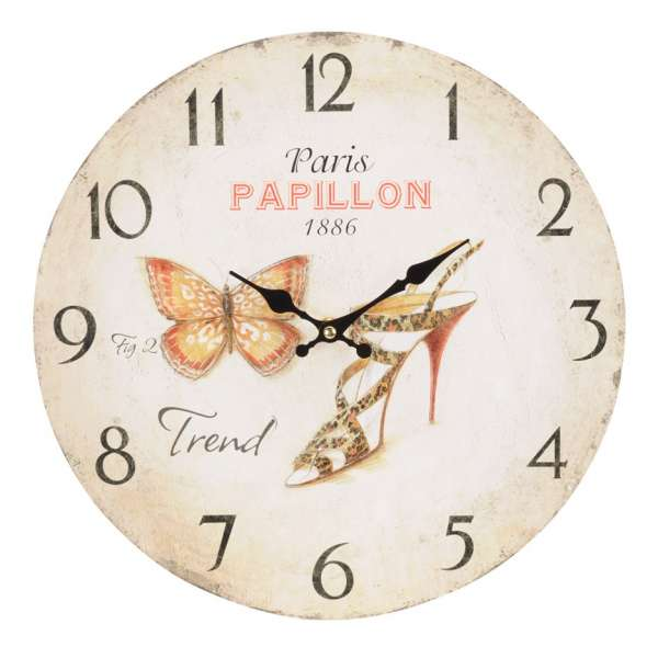 Nostalgische Wanduhr PARIS Papillon 33cm Shabby Chic Antik-Stil Küchenuhr Schuhe