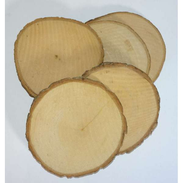 5x Holzscheiben Astscheiben Baumscheiben Deko Basteln Holz Rund ca. 8 - 10cm