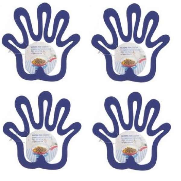 4x Topfuntersetzer Hand lila Silikon Pfannen-Untersetzer hitzebeständig Pfanne