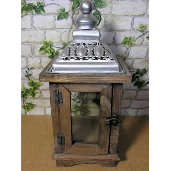 Rustikale Holz-Laterne 37 cm hoch Shabby Chic Braun Glas Vintage Landhaus Design