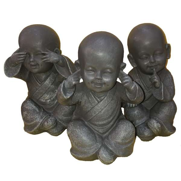 3er Set Buddha Deko Figur 15cm Dekofigur Garten Feng Shui Statue grau Polystone
