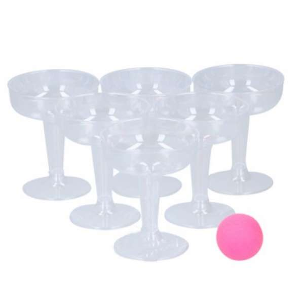 Bubbles Pong Trinkspiel Bierpong Partyspiel Sekt Bier Party Spiel Pink 14 tlg