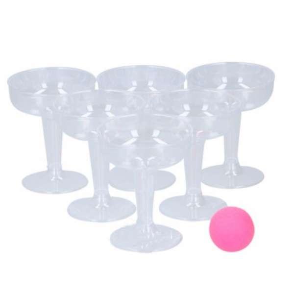 Bubbles Pong Trinkspiel Bierpong Partyspiel Spiel Sekt Bier Partygag Pink 14 tlg