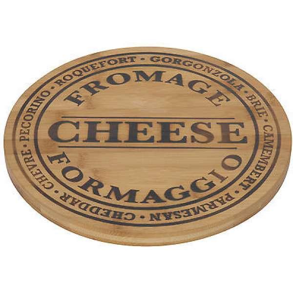 Rustikales Käsebrett Käseplatte aus Bambus-Holz 28cm Brett Käse Fromage Cheese