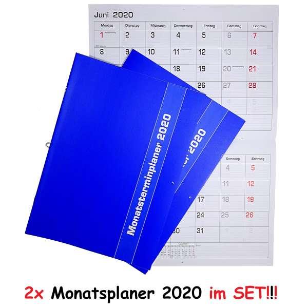 2x Monatsplaner 2020 Wand- oder Tischkalender 29,7x21cm Kalender Büro Termin Planer