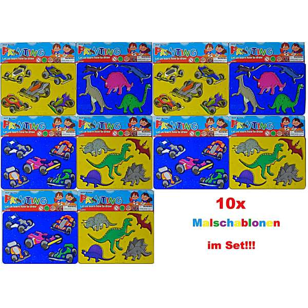 10x Malschablone Kinder Zeichen Malen Schablone Mitgebsel Geburtstag Party bunt
