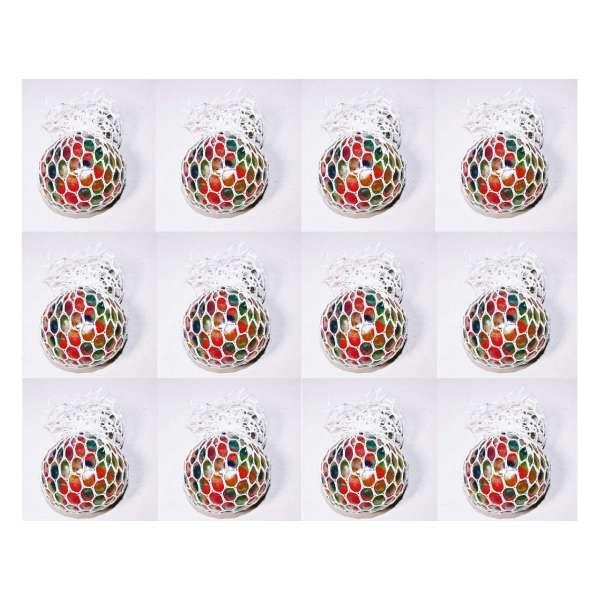 12er Set Quetschball Mini Anti Stressball Knautschball Stress Knet Ball Netz bunt