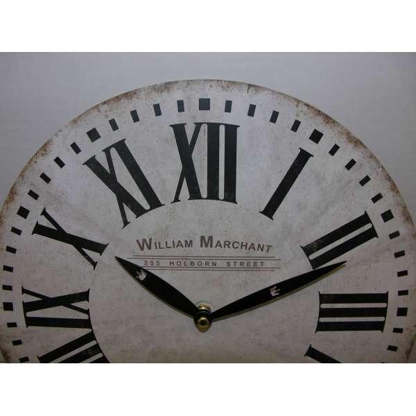 Nostalgische Wanduhr William Marchant beige 28cm Shabby Chic Vintage Küchenuhr