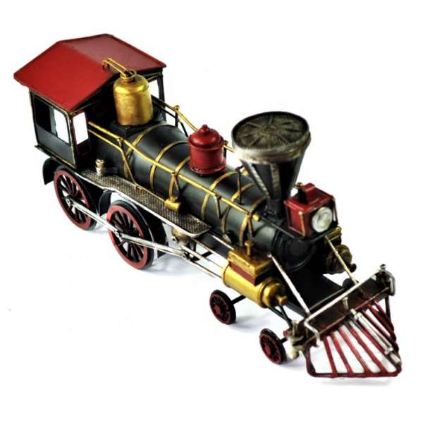 XXL Lokomotive Eisenbahn 42cm Retro Antik Stil Blech Modell Lok Bahn Nostalgie Deko