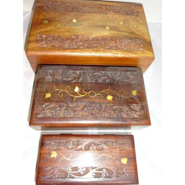 3er Set Holzboxen aus Sheesham Holz mit Messing Intarsien Truhe Schmuckschatulle Kiste